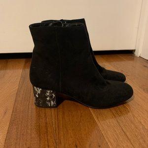 ASOS black suede bootie w marble heel